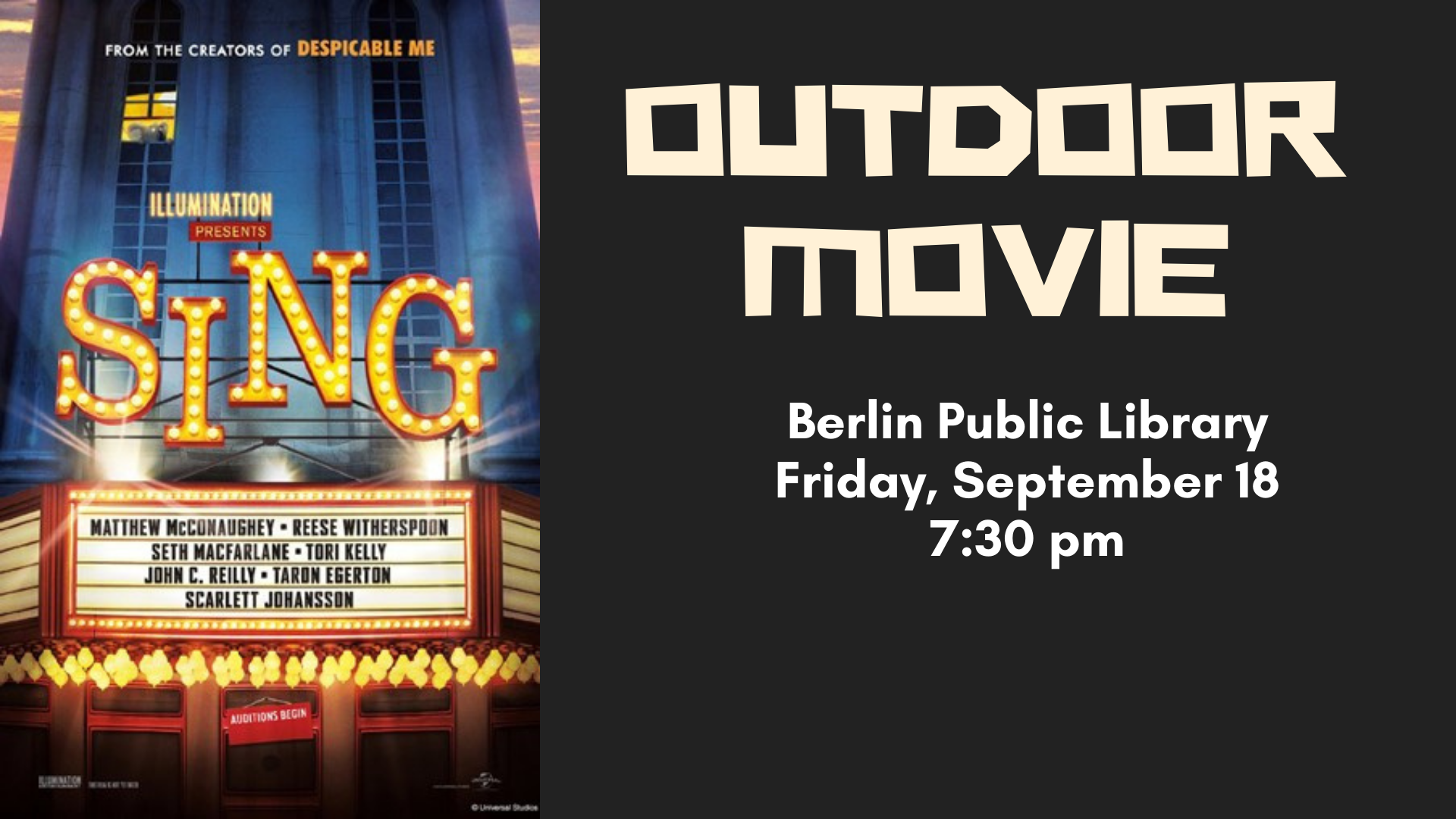Outdoor Movie - NEW START TIME: 7:30