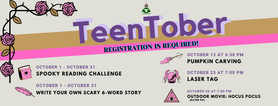 TeenTober list of events.