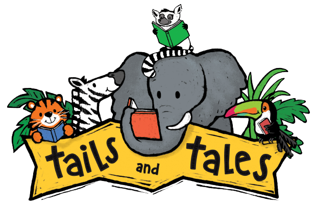 Tiger, zebra, elephant, lemur, and toucan reading books around a banner that says Tails & Tales.